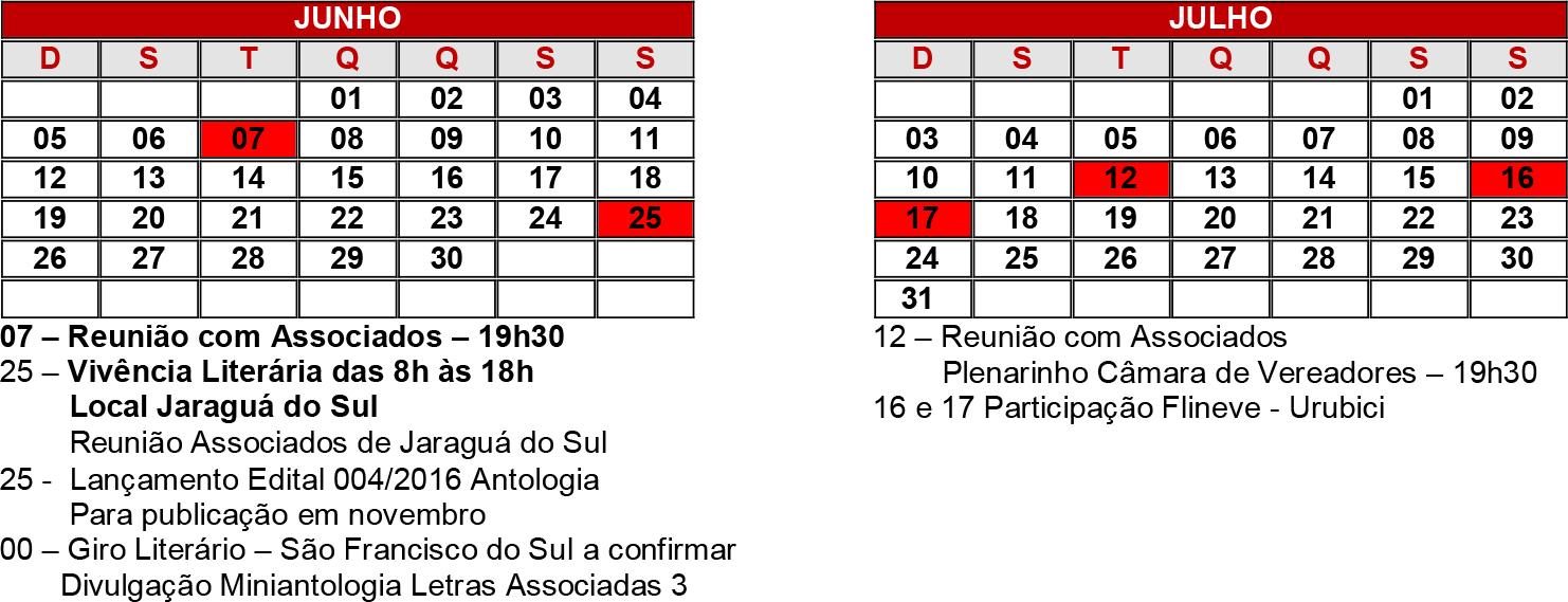 Junho e julho calendário